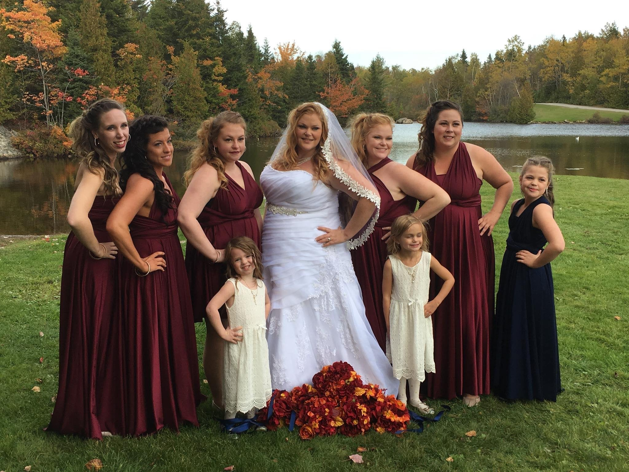 Wine Convertible Dress/Custom size, length/Maternity & Plus Size included