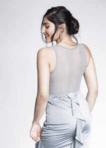 Steel Grey Ruffle Bum Bodycon