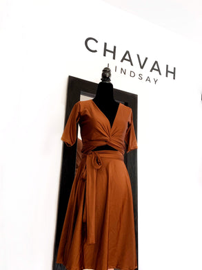 Pumpkin Spice Wrap Top Dress