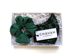 Emerald Sequin Swirl Mask + Scrunchy Set