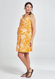 Yellow print sleeveless cotton maternity & nursing dress - LOVE MILK