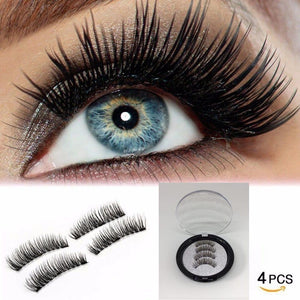 2 Pairs 3 Magnets 6D Magnetic Eyelashes + 1 PC Eyelash Tweezer Combo!