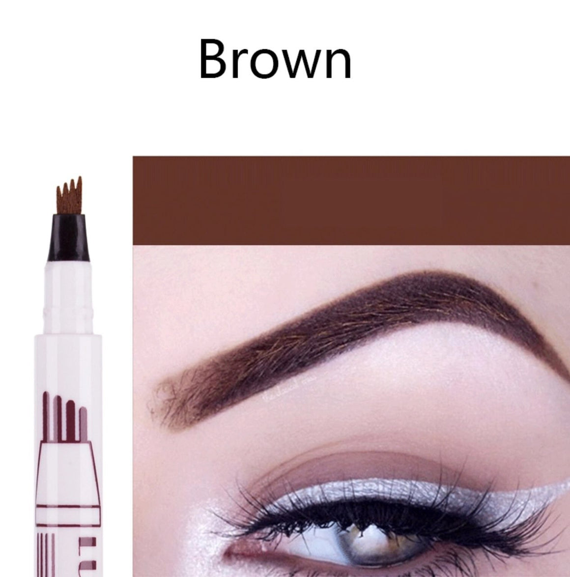 (BROWN) Waterproof Microblading Eyebrow Tattoo Ink Pen Sweat-proof 4 Head Fork