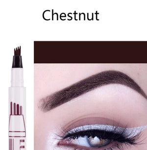 (CHESTNUT) Waterproof Microblading Eyebrow Tattoo Ink Pen Sweat-proof 4 Head Fork