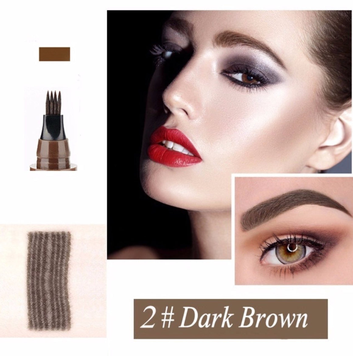 (DARK BROWN) Waterproof Microblading Eyebrow Tattoo Ink Pen Sweat-proof 4 Head Fork
