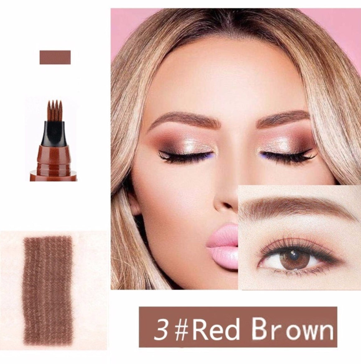 (RED BROWN) Waterproof Microblading Eyebrow Tattoo Ink Pen Sweat-proof 4 Head Fork