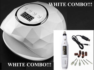 *** WHITE *** 86W UV LED Nail Lamp + Manicure Machine For All Gels COMBO !!!