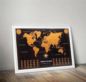 Deluxe Scratch Off World Map 70 x 52cm Wonders of the World