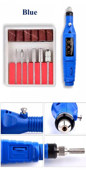 (BLUE) Professional Electric Manicure Machine - Pen Pedicure Nail File, Nail Tools
