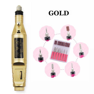 (GOLD) Professional Electric Manicure Machine - Pen Pedicure Nail File, Nail Tools, Polish File