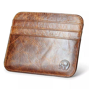 (BROWN) Genuine Leather Card Holder, Men, Women Wallet