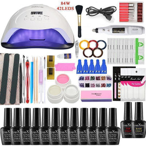 Nail Set LED Nail Lamp Manicure Set UV Lamp Manicure Set 84W Manicure Set Gel Nail Polish,Nail Tool Kit File Top Base Coat
