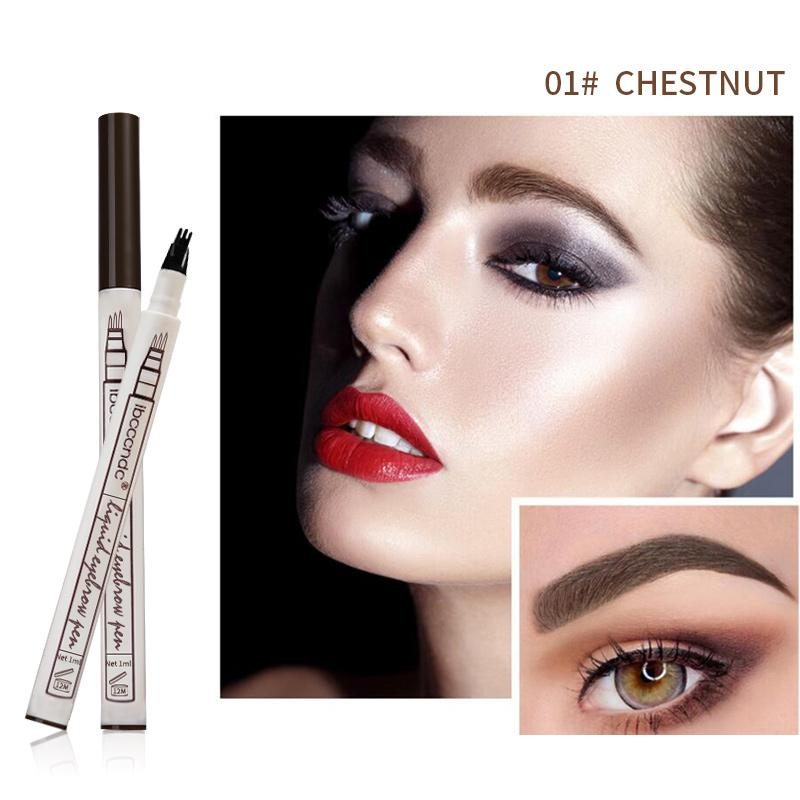 (CHESTNUT) Waterproof Microblading Eyebrow Tattoo Ink Pen 4 Head Fork