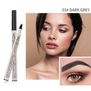 (DARK GREY) Waterproof Microblading Eyebrow Tattoo Ink Pen 4 Head Fork