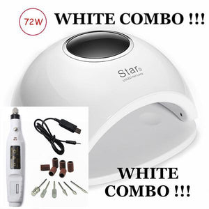 *** WHITE COMBO *** 72W UV LED Nail Lamp + Manicure Machine For All Gels COMBO !!!