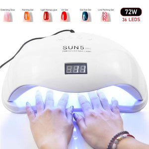 72W UV LED Nail Lamp, Nail Dryer For All Gels, Infrared Sensing 10/30/60s Timer