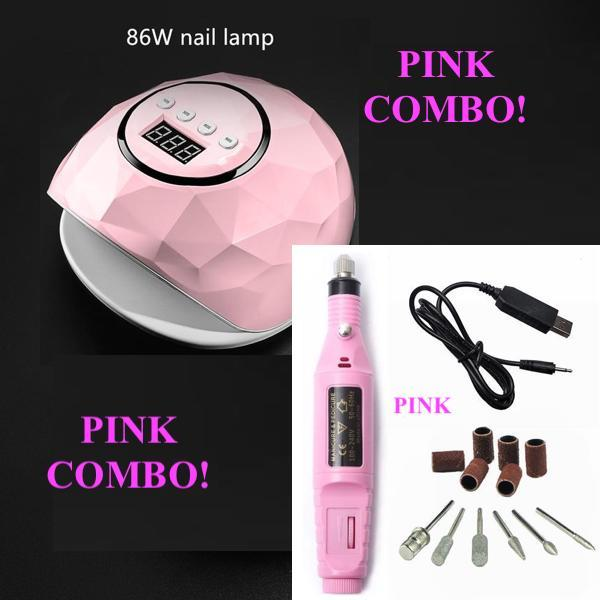 *** PINK *** 86W UV LED Nail Lamp + Manicure Machine For All Gels COMBO !!!