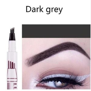 (DARK GREY) Waterproof Microblading Eyebrow Tattoo Ink Pen Sweat-proof 4 Head Fork