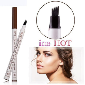 (BLACK) Waterproof Microblading Eyebrow Tattoo Ink Pen Sweat-proof 4 Head Fork