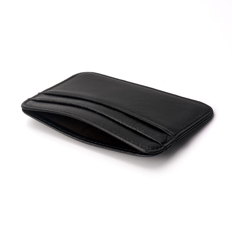 (BLACK) Slim Leather Soft Wallet, Mini Credit Card Wallet, Purse, Card Holders Men Woman