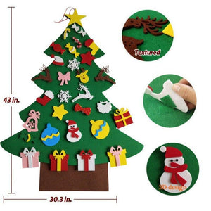 2PC x DIY Felt Christmas Tree Kit With 30pcs Removable Ornaments Felt Xmas New Year Toys Decorations Home Decor