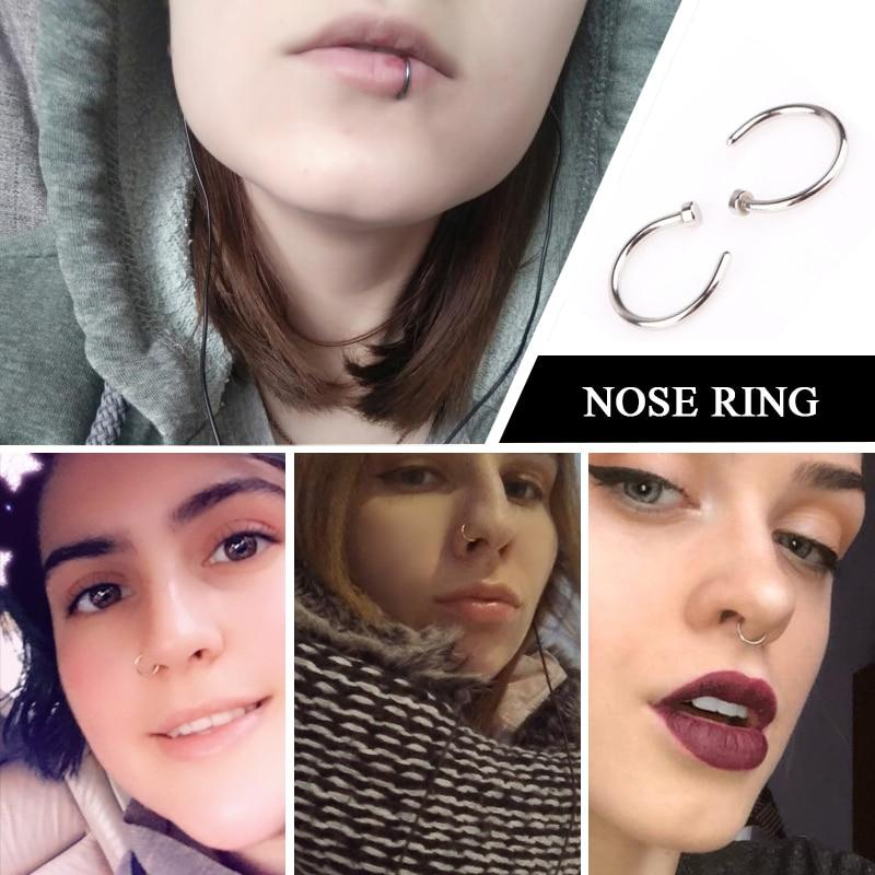 (BLACK) 4PC x Nose Ring Lips Ring Body Clip Hoop - Piercing Clip