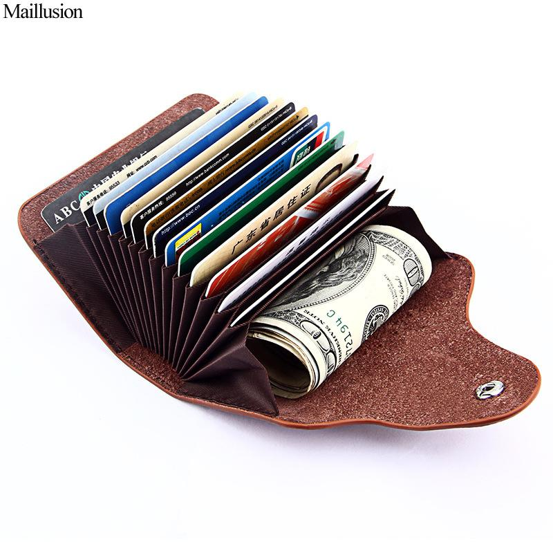 Genuine Leather Unisex Credit Card, ID Holder