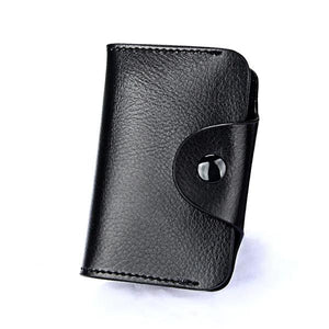 (BLACK) Genuine Leather Unisex Credit Card, ID Holder