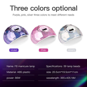 * PURPLE * 86W UV LED Lamp Nail Dryer 39 PCS LEDs Dual Hands Nail Lamp