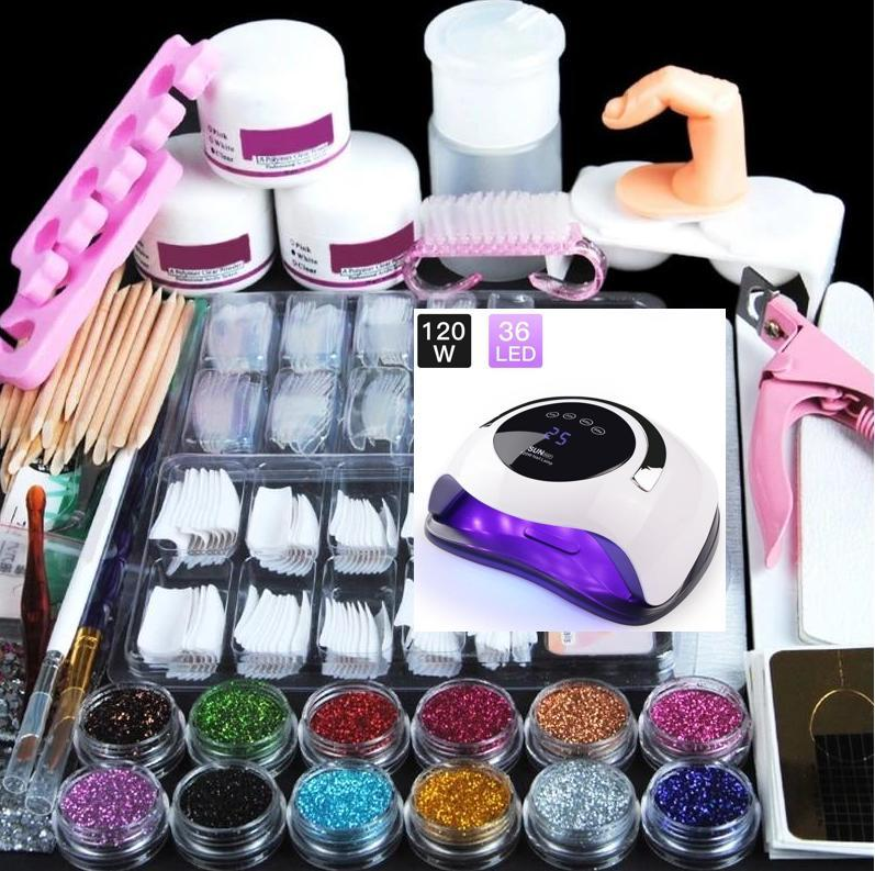 Acrylic Kit Nail Manicure Set + 120W Nail Lamp With Acrylic Liquid Nail Glitter Powder Nail Tips Decoration Acrylic Brush Nail Art Tool Kit