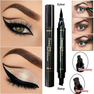 Double-end Black Stamp Eye Liner Pencil - Makeup Waterproof Long Lasting