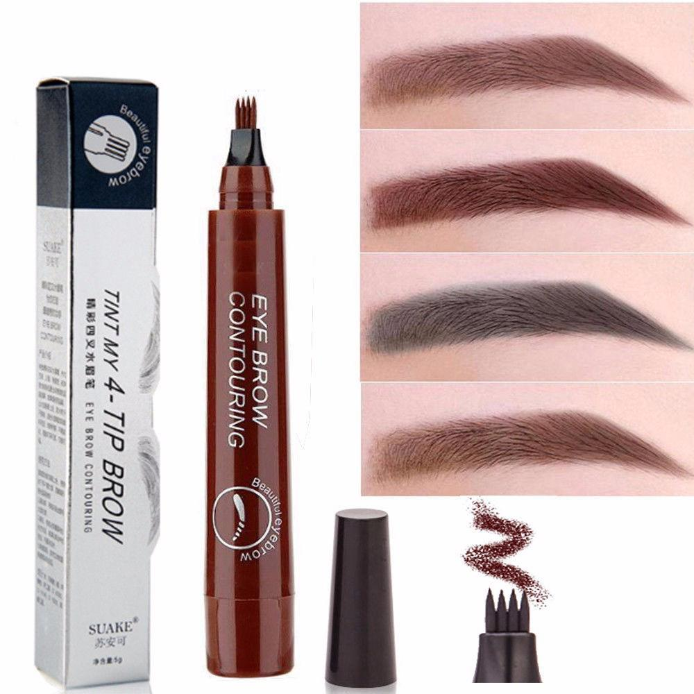 4PCS x Waterproof Microblading Eyebrow Tattoo Ink Pen Sweat-proof 4 Head Fork