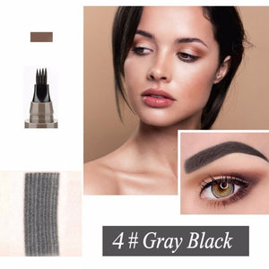 (GREY BLACK) Waterproof Microblading Eyebrow Tattoo Ink Pen Sweat-proof 4 Head Fork