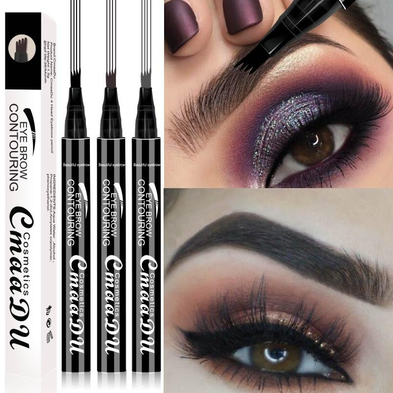 Waterproof Microblading Eyebrow Tattoo Ink Pen Sweat-proof 4 Head Fork