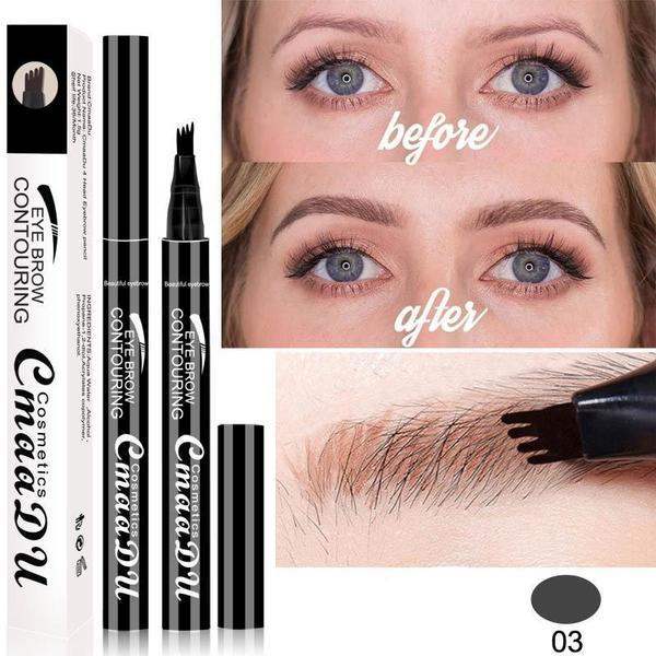 (GREY) Waterproof Microblading Eyebrow Tattoo Ink Pen Sweat-proof 4 Head Fork