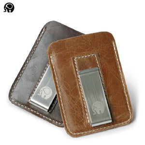 Genuine Leather Money Clip Card Holder