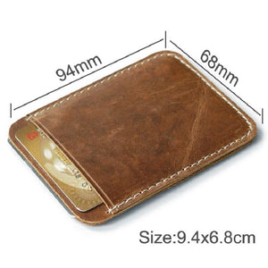 (BLACK) Genuine Leather Money Clip Card Holder