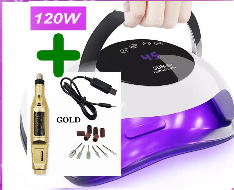 ** COMBO ** Manicure Machine + 120W Lamp For Manicure Gel Nail Lamp for All Gels Polish UV LED Lamp For Nails Dryer