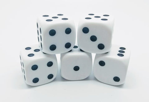 18mm Opaque Dice (set of 5)