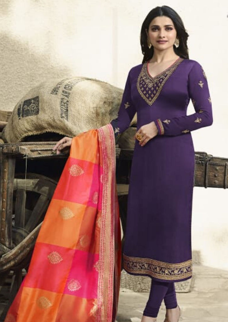 Shreya Satin Suit with Banarsi Dupatta (Purple)