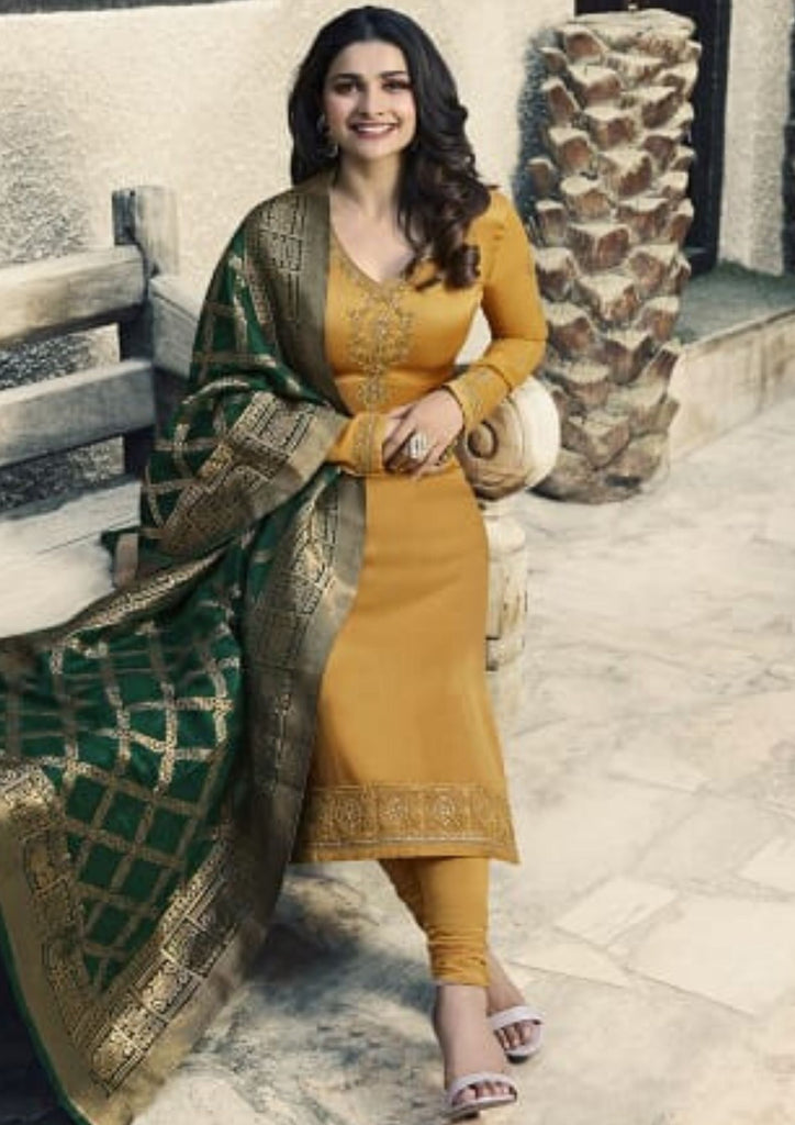 Shreya Satin Suit with Banarsi Dupatta (Mustard)