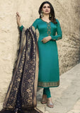 Shreya Satin Suit with Banarsi Dupatta (Bottle Green)