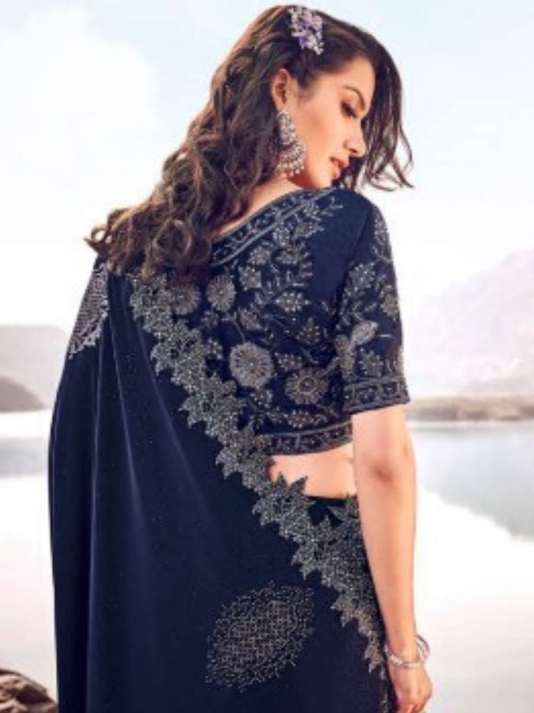 Adri Dark Blue Saree