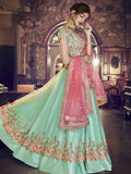 Nayantara Peach, Sea Green Lehenga
