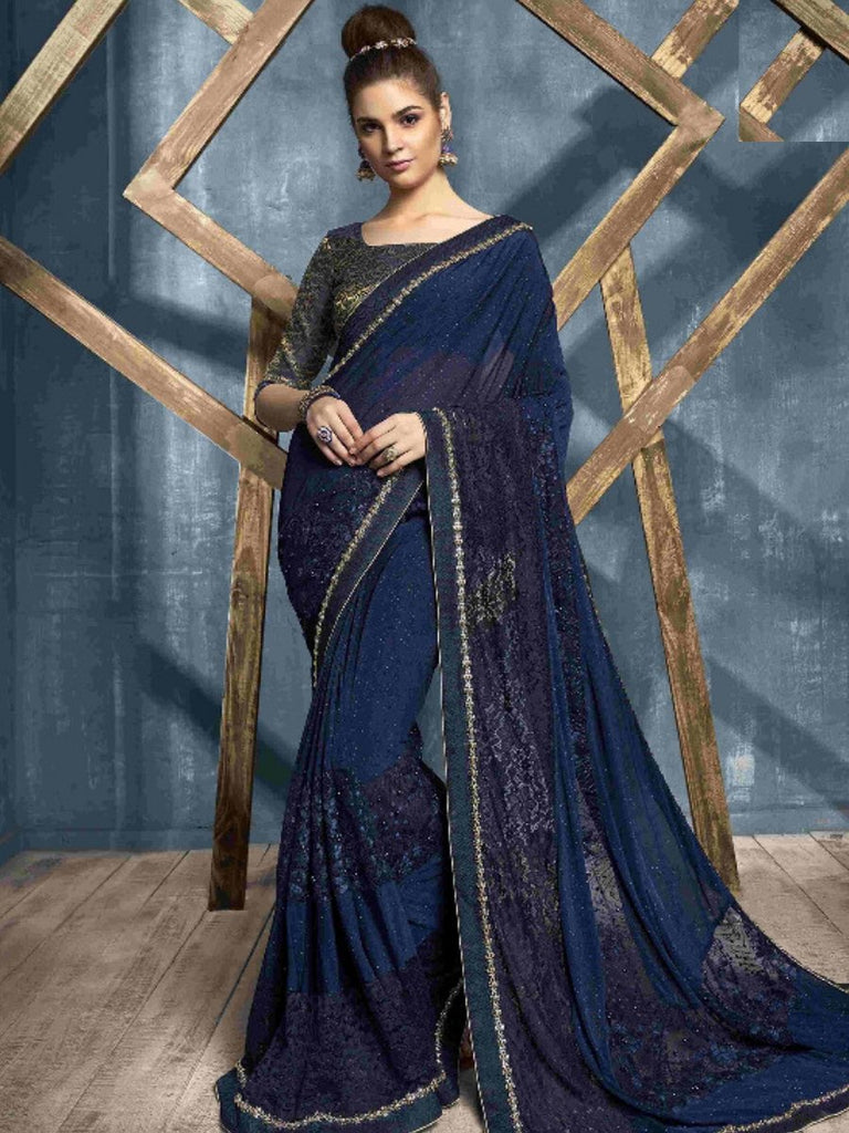Hansa Dark Blue Saree