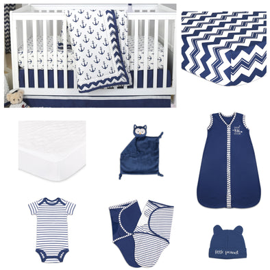The Peanut Shell Sail Away 11 Piece Sleep Essentials Crib Set In Navy