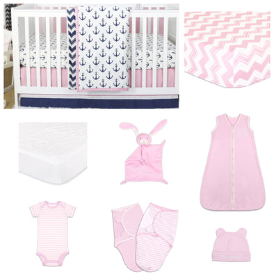 The Peanut Shell Sail Away 11 Piece Sleep Essentials Crib Set In Pink/Navy