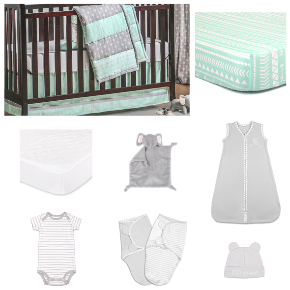 The Peanut Shell Straight And Arrow 11 Piece Sleep Essentials Crib Set In Mint & Grey