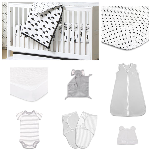 The Peanut Shell Fluffy Cloud 11 Piece Sleep Essentials Crib Set In Black & White