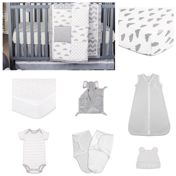 The Peanut Shell Patchy Cloud 11 Piece Sleep Essentials Crib Set In Grey